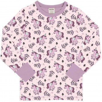 Einhörner Shirt langarm Bündchen in rosa