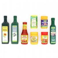 8 Holzverpackungen für Kaufladen Bio Produkte + Tasche