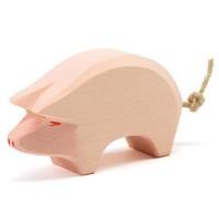 Schwein Holzfigur Rüssel tief 6 cm hoch