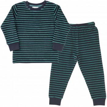 Jungen Schlafanzug Frottee Ringel dunkelblau