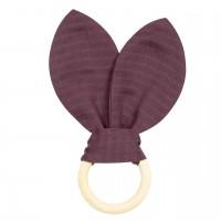 Beissring mit abnehmbaren Häschenohren lila