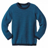 Wolle Basic Pullover in marine-blau