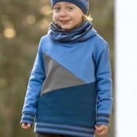 Sweat Pullover Block-Design blau
