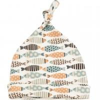 Babymütze mit Knoten Fische Muster