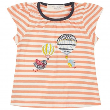 T-Shirt Vogel Ballon Aufnäher in koralle