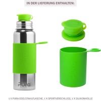 Vorschau: Grosse Pura Edelstahl Sportflasche 800 ml grün