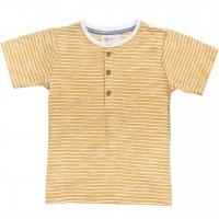 Henley Slub T-Shirt Ringel in gelb