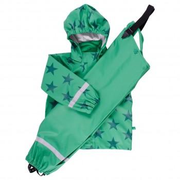 Regenbekleidung grün Sterne ungefüttert