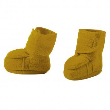 Warme Babyschuhe Klettverschluss Schurwolle gold