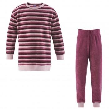 Beere Frottee Schlafanzug Ringel
