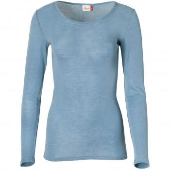 Damen Wolle Seide Langarmshirt hellblau