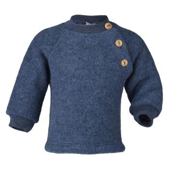 Woll Fleece Pullover Holzknöpfe blau