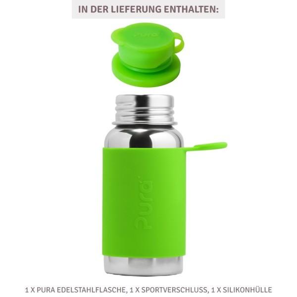 Pura kiki Edelstahl Sportflasche Sportverschluss 550 ml grün