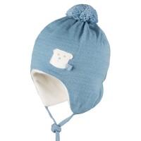 Warme Bio Baby Wintermütze mit Bommel - blau