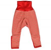 Wolle Seide mitwachsende Babyhose mit Umschlagbund rot natur