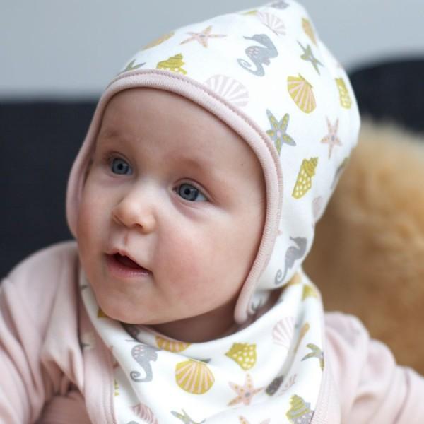 Baby Wendemütze ohne Bänder rosa - Seesterne