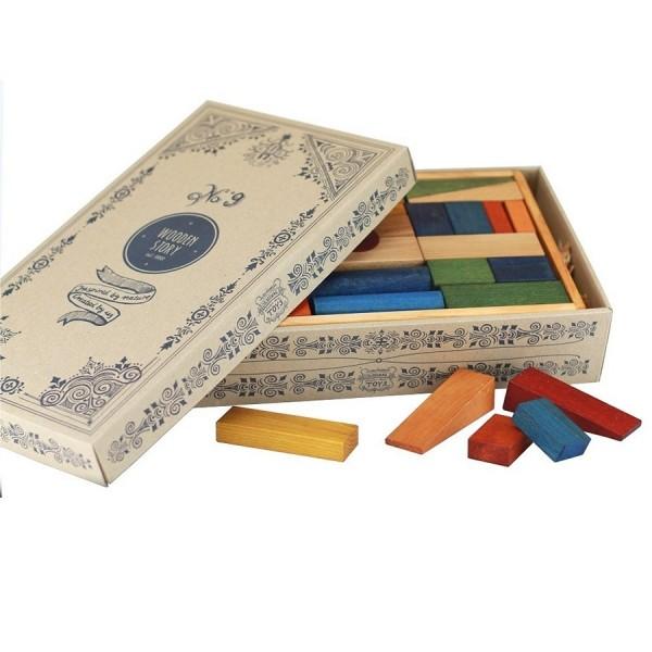 63 natürliche Regenbogen Bauklötze mit Box