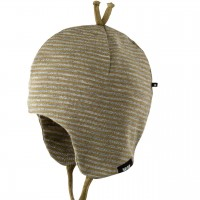 Erstlingsmütze Wolle Seide Doppellagig moos-grün