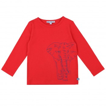 Shirt langarm Stickerei Elefant rot