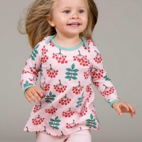Mädchen Shirt Vogelbeere rosa langarm gerafft