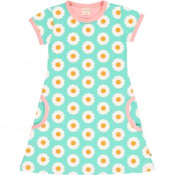 Kleid Gänseblümchen hellblau kurzarm