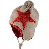 Plüsch Woll Mütze mit Stern beige