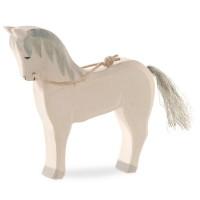 Pferd weiss Holzfigur stehend