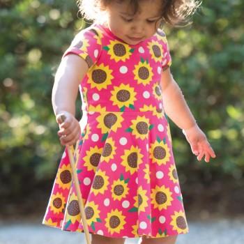 Flatter Sommerkleid Sonnenblumen pink