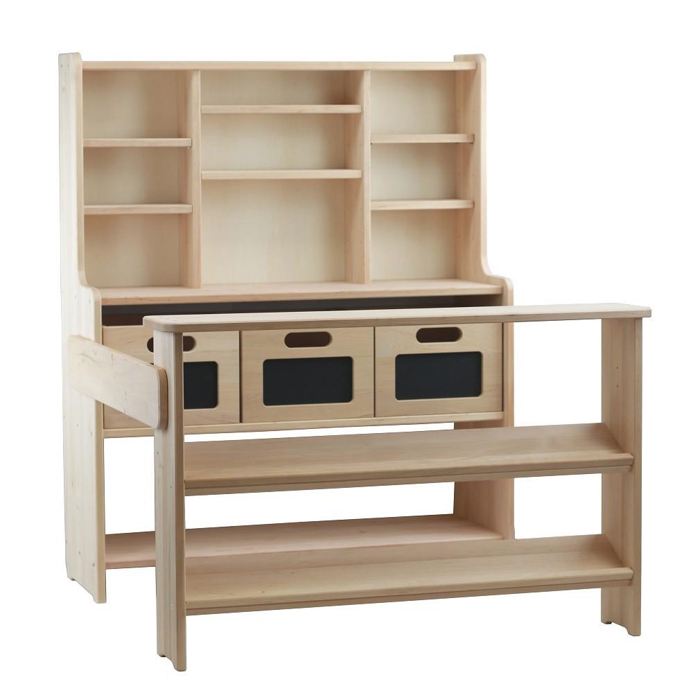 Ökologischer Kaufladen U201eTheou201c Aus Holz U2013 Set Mit 3 Kisten