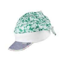 Kopftuch mit elastischem Stirnband Blume grün