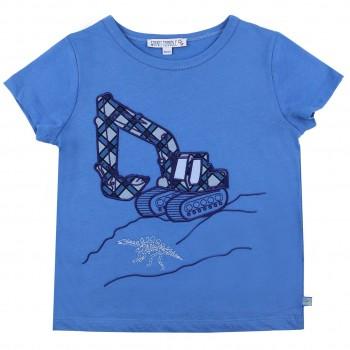 Edles T-Shirt Bagger Aufnäher in blau