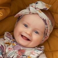 Baby Haarband edel Dahlien hellgrau