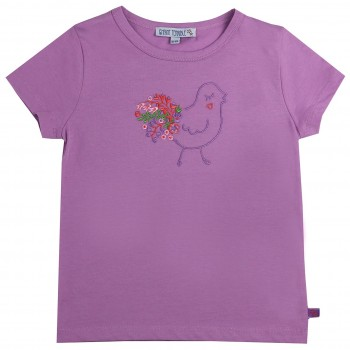 Shirt kurzarm lavendel Vogel gestickt