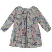 Vorschau: Weites elegantes Ganzjahreskleid langarm gewebt