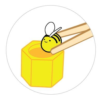 Bienenstock mit Pinzette