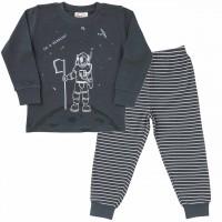 Jungen Schlafanzug Mondlandung dunkelgrau