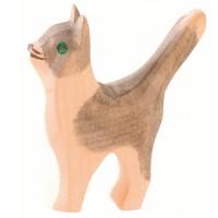 Katze klein grau Kopf hoch Holzfigur 5 cm hoch