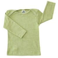 Baumwolle Wolle Seide Langarmshirt altgrün meliert
