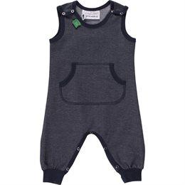 Weicher dehnbarer Babystrampler GOTS in Jeansoptik - neutral