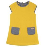 Fleece Kleid mit Seitentaschen Zitronen gelb