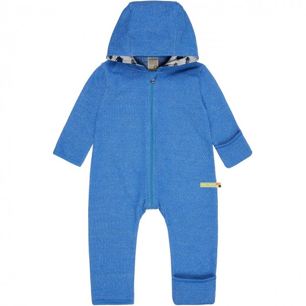 Warmer Strickoverall blau melange