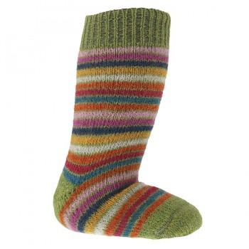 Lange Vollplüsch Socken Wolle warm dick grün