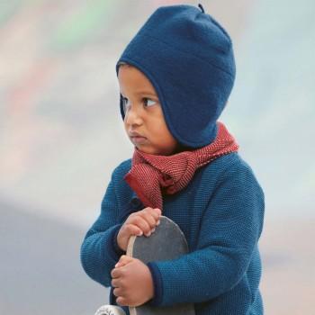 Wintermütze Wolle marine Ohrenschutz
