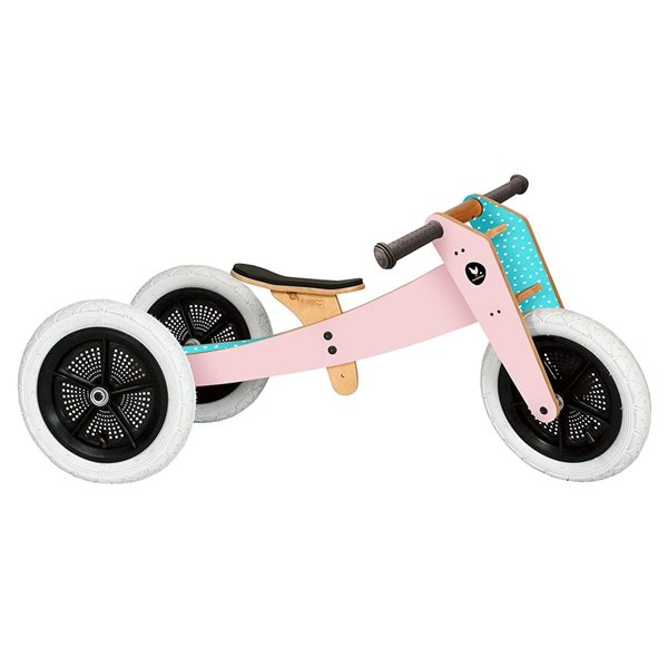 """Laufrad Dreirad Holz pink """"3in1"""" mitwachsend ab 12 Monaten"""