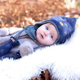 Leichte warme Wollmütze innen Biobaumwolle blau