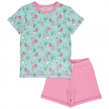 Kurzer Sommer Schlafanzug Erdbeeren mint