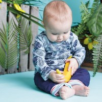Öko Baby Krabbelhose zum Wenden - navy