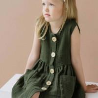 Sommerkleid Musselin ohne Arm waldgrün