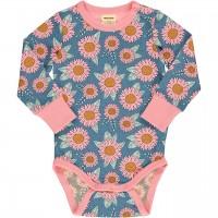 Langarmbody mit Sonnenblumen blau