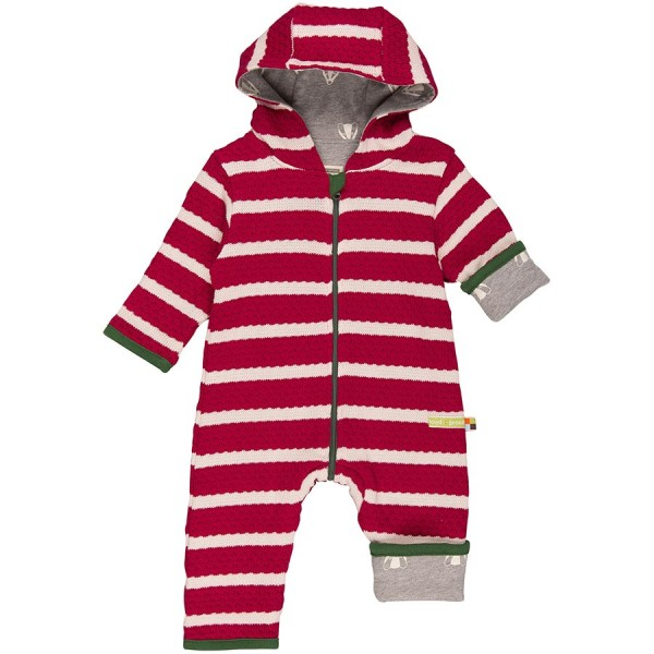 Warmer Wende-Overall Strick Dachs berry